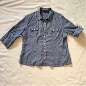 Apt 9 Chambray Tab Sleeves Button Down Blue